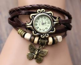 Women Butterfly Pendant Genuine Leather Vintage Watch Fashion bracelet butterfly Classic Leather Strap Roma Quartz Watch drop shipping