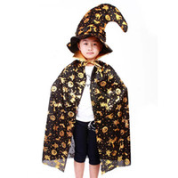Wholesale Boy And Girl Halloween Clothes Fashion Pumpkin Ponchos Caps Hallowmas Cloaks Mantle Kids Clothing Holiday Wear Children Special Occasions
