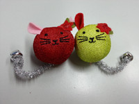 balls tinsel - 2 Mouse Balls Cat Playing Toy W Jingle Bell amp Tinsel Tails Toy With Tough And Durable Textures Helps Keep Cat s Teeth Clean amp Strong
