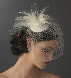 2018 Birdcage Bridal Veils Feather Tulle Ivory and white Wedding Bridal Accessories Wedding Veils