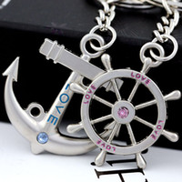 Alloy anchor keychain - 10pcs Creative Anchor amp steering wheel Couple Keychain Key Chain Ring Key Fob Holder