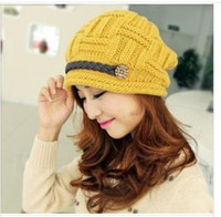 Wholesale Han edition autumn winter new lovely fashion warm earmuffs knitted winter hats female edge wool hat