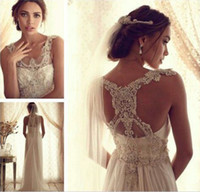 Wholesale 2014 Latest Wedding Dress Sheer Neckline Empire Waist Sweep Train With Pearls and Bead Gossamer Bridal Wedding Gown