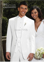 Reference Images Wool Blend Standard Wholesale - New Style White Two Buttons Groom Tuxedos Best Man Notch Lapel Groomsmen Men Wedding Suits Bridegroom (Jacket+Pants+Tie+Vest) M5