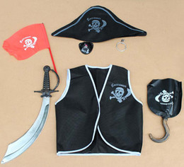 Wholesale Halloween Clothes Child Suit Black Clothing Children Set Hallowmas Clothing Holiday Wear Children Special Occasions Kids Pirate Suit Outfits