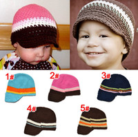 Boy Winter Cotton Free Shipping Crochet Baby Boys Striped Beanie Newsboy Cowboys Cap Infants Toddlers Knitted Cotton Hat Autumn Winter Children's Cap Cotton