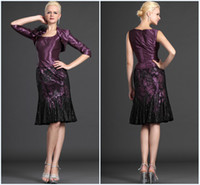 Wholesale Gorgeous Elegant Sheath Mother of the Bride Dresses Purple Custom Made Taffeta Fabric With Half Sleeves Jacket Feather Flowers Black Lace
