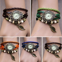 Wholesale New Fashion Quartz Weave Wrap Synthetic Leather Bracelet Women s Wrist Watch Colors