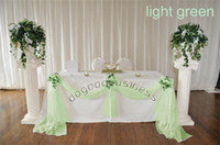 Wholesale 5M M light green organza sheer fabrics for curtain crystal organza material for wedding backdrops decor color