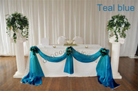 Wholesale 1 Teal blue M M organza sheer organza fabric for wedding backdrop decorate