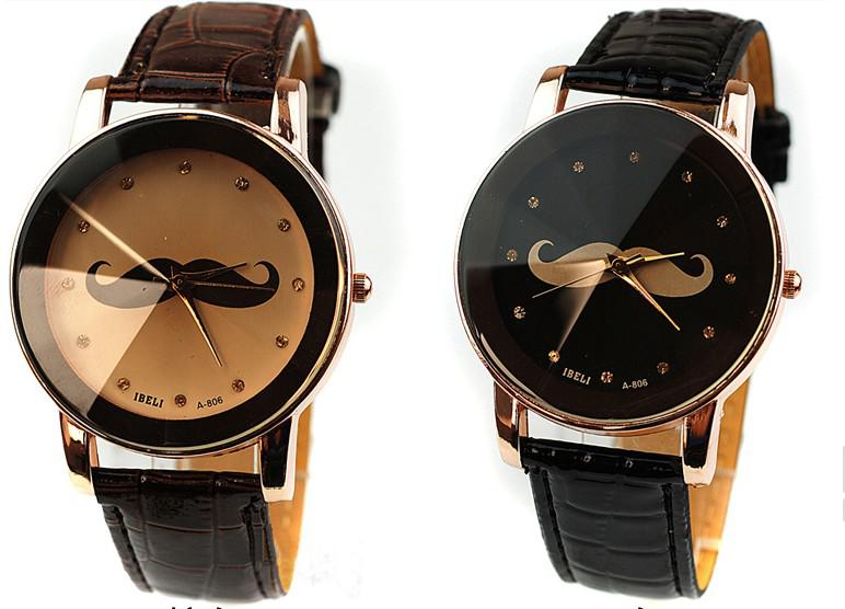 2013 new british style mustache leather belt quartz watches women 2013 new british style mustache leather belt quartz watches women men fashion dress table watch top quality drop shipping shoes online shopping online