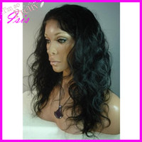 Wholesale Free Ship quot b Natural Wavy Indian remy Human Hair Glueless Lace Front Wig Bleached Knots With Baby Hair