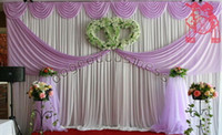 Wholesale 10m x1 m Lavender Organza Wedding Backdrops and Table Skirting With Swag Drapery Curtain of Wedding Background