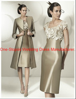 Wholesale 2014 Hot Cheap Vintage Square Neck Taffeta Long Sleeves Lace Handmade Flowers Tea Length Sheath Mother Of the Bride Dresses With Jacket
