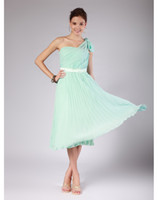 Wholesale Chic new one shoulder pleats mint green tea length chiffon lady bridesmaid dresses eveing dress prom pageant gown LSE058