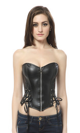 Sexy black faux leather bustier corset with thong K26, Size 2XL