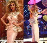 Pageant Dresses Myriam Fares Sleeves Satin Sheath Celebrity ...