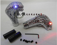 Wholesale Universal Manual Gear Shift Knob death race Cobra Snake Shifter with RED or BLUE glaring with LED Eyes D