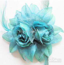 Wholesale Dia cm quot Artificial Simulation Rose Double Flower Heads Headdress Bride Bridesmaids Corsage Feather Wrist Flowers