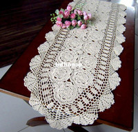 Wholesale SIZE x59 quot X150CM Crocheted Cotton Beige Wedding or Home Decor Table cloth Table runner NO