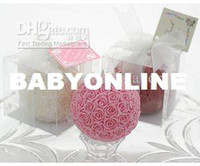 Wholesale wedding favo candle Pink Rose Ball Candle in Gift Box