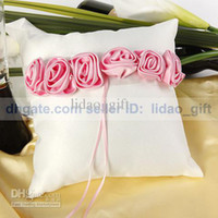 Wholesale Bold Pink luxury Rose Lined Bridal Ring Bearer Pillow for Wedding Party Stuff Favors