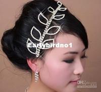Wholesale elegant Wedding Bridal Jewelry crystal leaf Tiara headpiece headwear hairwear floral headdress belly dance hair accessories jt07