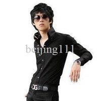 Men Cotton Shirts 2013 tops cotton Free shipping New Korean long-sleeved shirt mens shirt inside silk triangle collar shirt