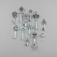 Wholesale Antique Silver Metal Alloy Pendant Key Charms DIY Jewelry Fittings