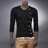 Men Cotton Polo Spring and autumn Render unlined upper garment T-shirt, men's character v-neck long-sleeve T-shirt more button decoration