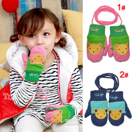 Wholesale New coming baby girl gloves cute bear style Children s Mittens colors