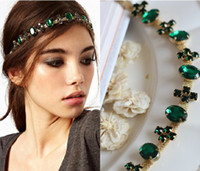 Wholesale 1PC New Green Cross Crystal Alloy Head Chain Headpiece Charm Elastic Hair Band Hair Accessories JH01032