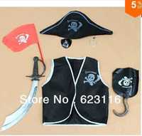 Teenage People Halloween Free Shipping Hot Sale !One Set Performance Wear Costume Halloween Pirate Costume Clothing Cosplay Costumes for Kids Wholesale