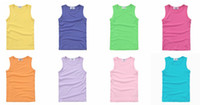 baby boy Tops Baby Girl Tanks 2T-3T Summer Cool Breathable Baby Boy Tops Baby Girl Tanks Solid Color Yellow Purple Green Hot Pink Choose Color Size Kid Clothes Children's Tank Tops