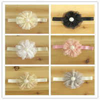Wholesale Baby Headbands Girl hairbands Lace Flower Hair Accessories Kids Elastic Pearl Flower Headbands For Photography Props Infant Headband