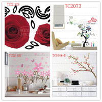 Peel & Stick PVC Animal Free shipping Mix Order50*70cm High Quality A++++++ 10pcs lot Hot-sales Brand New Wall stickers blooms cherry butterfly red roses decorate