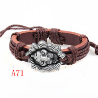 Wholesale New Coming Lion Vintage Bracelet Fashion Jewelry Charm Bracelets Leather Alloy Free Size Handmade A71