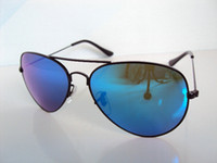 Wholesale 2013 classic flame lens sunglasses Black Frame Blue coating Lens Mixed Color Order mm glass lens AVIATOR Men s sunglasses