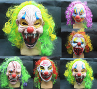 Halloween masks clown - Halloween Masks Clown Men Scary Evil Horror Latex Mask With Colorful Wig Party Masks Supplies MK009