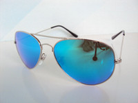 Wholesale 2013 classic flame lens sunglasses Silver Frame blue Lens Mixed Color Order mm glass lens AVIATOR Men s sunglasses