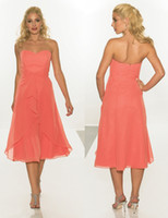 chiffon tea length bridesmaid dresses - 2015 Cheap Tea Length Coral Bridesmaid Dresses Short Chiffon Prom Dresses under