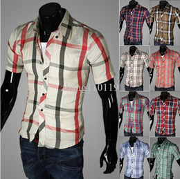 Wholesale Free shippment brand new fashion stripe men s short sleeves shirt summer casual dress shirt
