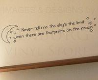 Vinyl achievement quotes - 10pcs Wall Decal Sticker Quote Vinyl Art Letter Footprints on the moon Achievement