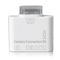 For Apple iPhone adapter card function - 5 in Multi function USB SD MMC TF Card Reader Adapter Connector for the ipad