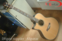 Solid acoustic guitar left - Left handed ce Natural Wood Ebony fretboard lefty Special Pickups AAA Solid Spruce Abalone Body Acoustic Electric Guitar