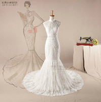 Wholesale Sexy Mermaid Wedding Dress Beaded lace Bridal Gown Sweetheart Neckline Chinese Collar Y914
