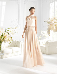 Elegant champagne High Neck chiffon with bow floor-length Evening Dresses bridesmaid dress