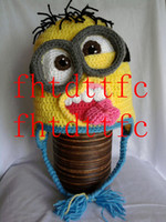 Wholesale A large number of Crochet Minion Hat Despicable Me Halloween Photo Prop ems
