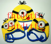 Wholesale Yellow Minion with Goggles Earflap Hat Choose your Mouth Eyes and Hair MADE TO ORDER