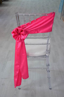 Wholesale Fancy self tie satin chair sash for wedding fushia